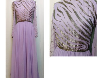Victoria Royal Ltd Purple Beaded Chiffon Evening Gown