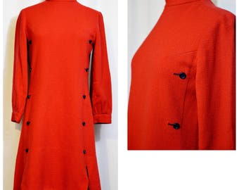 Alison Ayres Original Red Mod Dress with Blue Buttons