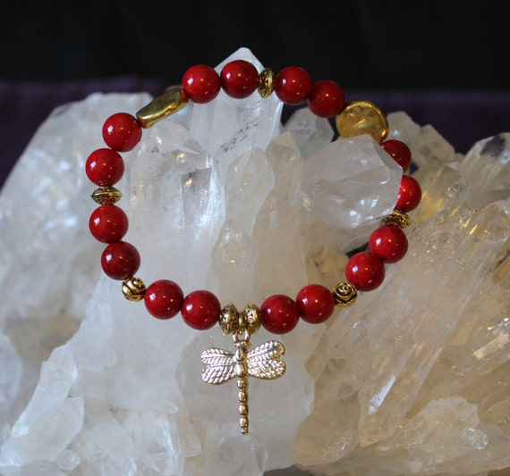 Red Fossil Stone with Gold Accent DragonFly Charm