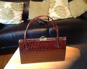 Vintage Brown Leather Kelly Style Handbag - 1950's