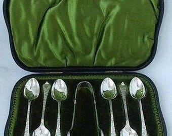 Antique Victorian Hand Engraved Solid Silver Tea Spoons and Sugar Tongs/Nips - 1899