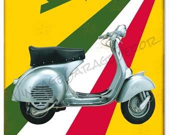 "Vintage Style "" Vespa Motor Bicycle "" Piaggio Metal Sign (Rusted)"