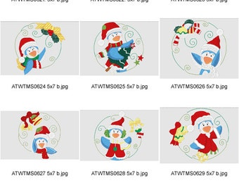Christmas-Penguin-Circles-5X7. ( 10 Machine Embroidery Designs from ATW )