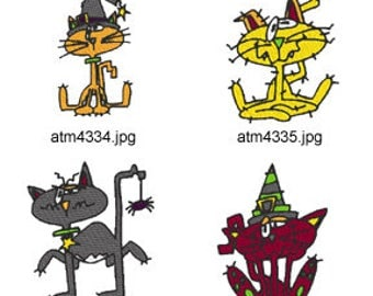Goofy-Halloween-Cats ( 7 Machine Embroidery Designs from ATW ) XYZ17C