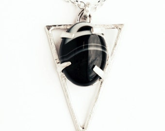Sterling Silver Black and White banded Onyx pendant.