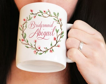 Bridesmaid Mug - Custom Coffee Mug - Maid of Honor Mug - Bridesmaid Proposal Watercolor Floral Mug - Bridesmaid Gift Mug - Wedding Mug Gift