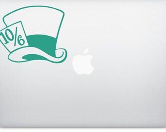Alice In Wonderland Mad Hatter Hat 10/6 Vinyl Decal Sticker / Car / Laptop / Disney / Disneyland / Cheshire Cat / Tea Party