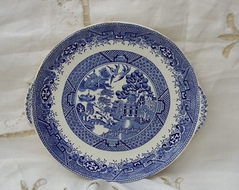 Vintage Blue and White Transferware Plate Staffordshire Anchor Old Willow Pattern
