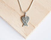 Aylin Angel Wing Pendant Wing Necklace Wing Jewelry Angel Wing Jewelry Crossed Wings Folded Wings Baby Loss Pendant Silver Angel Wing