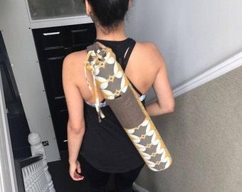 Ethnic Yoga Bag - Hand Printed, Handmade Yoga Bag in Yellow and Charcoal Grey in our beautiful and unique Selin design