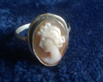 Vintage Cameo Ring, Shell Cameo, 800 Silver, Antique Cameo Ring, Jewellery, Gifts for Her, Collectible