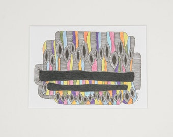 Dandelions, art, drawing, abstract, geometry, illustration, decoration, living, wall decoration, black, multi colored, Fineliners, ink, type