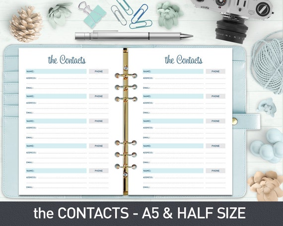 A5 Contact List Printable, Contact Sheet, Printable Contacts, Address Book  Printable, A5 Planner Inserts, Printable Inserts  Printable Contact List