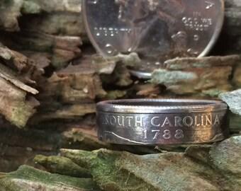 South Carolina state quarter coin ring
