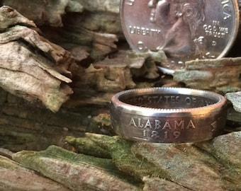 Alabama state quarter coin ring