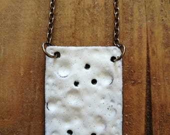 Enamel on copper pendant contemporary necklace, moon surface, with long black brass chain
