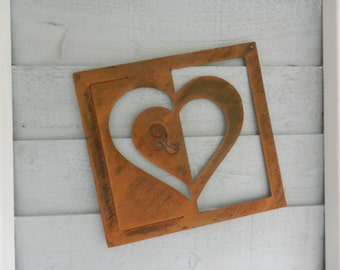 Heart Rusty Metal Wall Art / Valentines Wall Plaque / Heart Metal Garden Decoration / Heart Gift / Metal Garden Art / Garden Wall decor