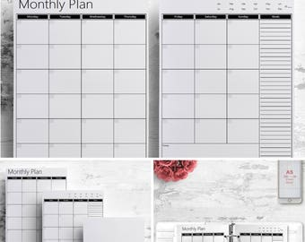 2 box monthly planner printable calendar undated agenda a5