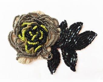 Pazuki | Black & Lime Flower - Embroidery Patch