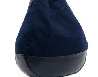 Large Canvas shoulder Bag / Navy Blue Canvas / Everyday large bag / Womens everyday bag / Large Boho Bag / Everyday bag mom / Shoulder purse
