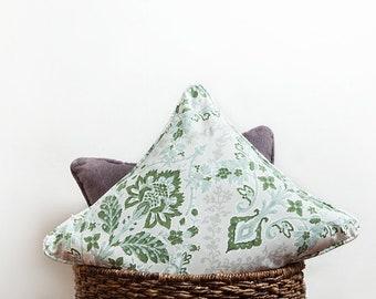 Green Grey Floral Pillow, Green, Floral Pillow, Floral Pillow Cover, Green Pillow Cover, Pillow Cover, Pine Green, Green Decor, Greenery
