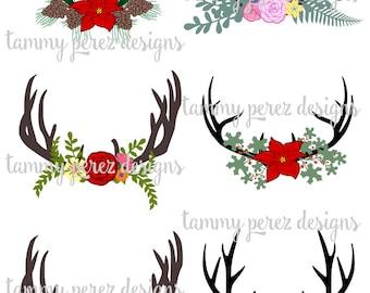 Deer Antler Flowers Monogram SVG DXF File - Digital File for Craft Cutting