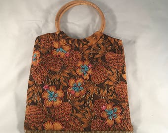 Handbag Purse Vintage Beaded Pineapples and Plumeria Flowers Beads and Sequins Brown and Gold Cotton Embellished with Beads Bamboo Handles
