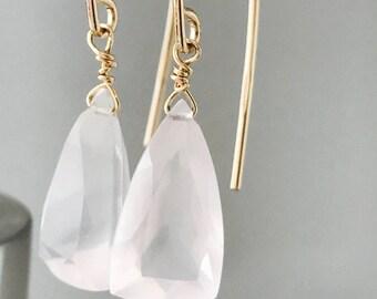 Rose Quartz earrings Light Pink Earrings Healing Earrings Crystal Earrings Pink Earrings Gift for Her Quartz Earrings Love Earrings