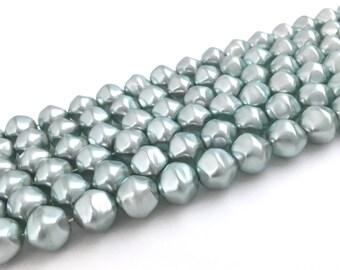 14mm Czech Glass Pearl Bead Pale Green, Faux Pearl, Baroque Pearl, Big Bead, Large Pearl, Loose Pearl, 8pcs