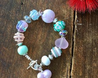 Pastel Bracelet. Glass Bead Bracelet. Swarovski Bracelet. Sterling Silver. Lampwork Bracelet. Chunky Bracelet. One of a Kind Bracelet.