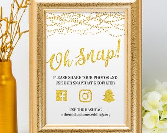 Printable Gold Glitter Foil Look String Lights Social Media Wedding Event Hashtag Signs, 2 Sizes, Editable PDF, Instant Download