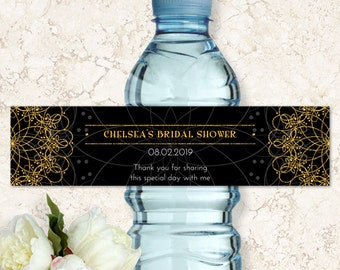 "Printable Elegant Mandala Faux Gold and Black Bottle Labels - Bridal Wedding Shower; Personalized 8"" x 2"", Editable PDF, Instant Download"