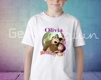 Masha and Bear Birthday Shirt,  Masha and bear Family Birthday Shirts, Masha birthday shirt, Masha party, Masha and bear party