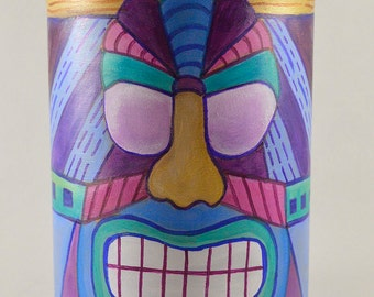 Colorful Tiki Face Jar