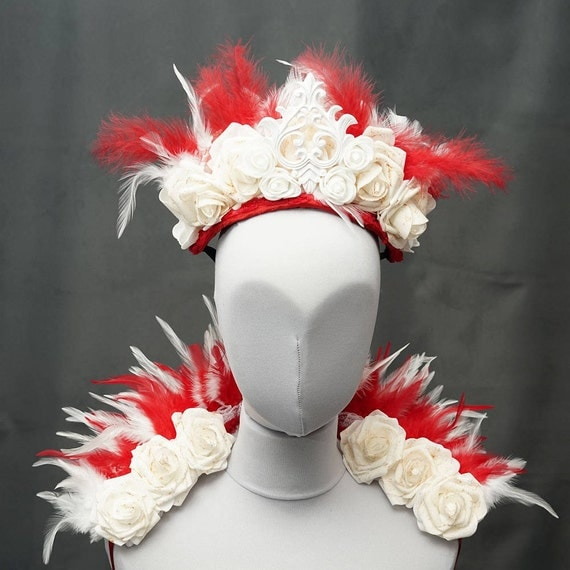 Bloody swan set mini feather shouldercollar with matching headpiece, SET of 2 pieces, collar and headpiece in red white
