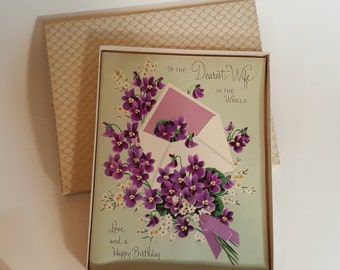 Vintage Birthday Cards Gold Embossed with Jewel 1955 and 1964 Violet Card in Box Card  Vintage Ephemera Free Shipping