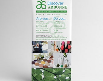 Personalised Discover Arbonne Pull Up Roller Exhibition Display Banner Unique
