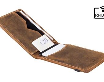 RFID slim wallet - Mens card wallet / card holder - Band closed - Raw Tan - A-SLIM - Kihaku - Designer Wallet - Card case - Leather
