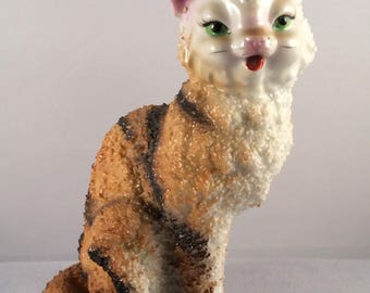 Vintage Glossy Tabby Cat Figurine - Textured Fur - Made in Japan