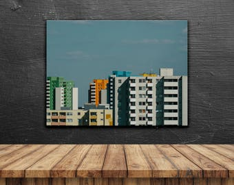 Pastel Block Party // Poster, Photography, Berlin, Skyline, Minimal, Colours, Image, Picture, Print, Wall Decor, Interior Design, Decor