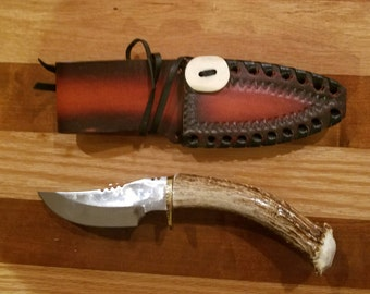 Deer Antler Upswept Skinner Hunting Knife With Sheath Antler Handle