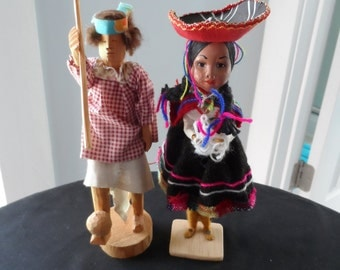 Gifts For Doll Collectors  All Wood Male Doll, Female Doll made of Wrapped Thread Central and or South America   856