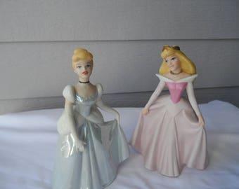 Vintage Disney Princess Ceramic Porcelain Figurines Cinderella, Sleeping Beauty  1214