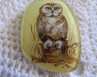 Vintage Eyeglass Lens Owl Brooch/Kitschy Owl Brooch/Owl Jewelry/Vintage Owl Jewelry/Vintage Costume Jewelry/Vintage Owls