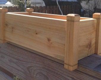 "24"" Cedar Planter Deck Rail, Herb Garden Planter Window Box"