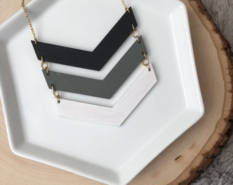 Hand painted Wooden Chevron Necklace//Black Grey and White Chevron necklace//Chevron Necklace//Wood Necklace
