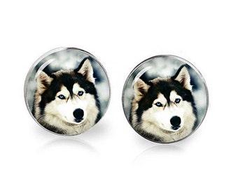 Siberian Husky Stud Earrings Siberian Husky Earrings Animals Jewelry Gift for Husky Lovers