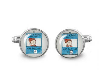 Peanuts Doctor Who Cuff Links 16mm Cufflinks Gift for Men Groomsmen Novelty Cuff links Time Travel Help