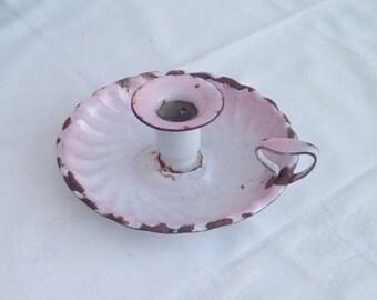 Vintage French pink fluted enamel candle holder