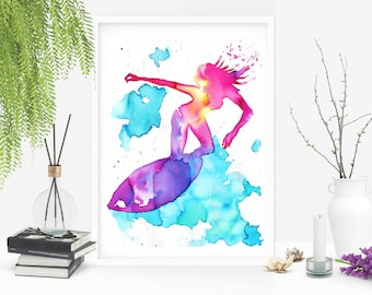 "Original art ""Surfing Lady"". Unique surf art in watercolors. Size 24x32 cm (9.4x12.6 inches) Beach Art for Ocean lovers. Good Vibes."